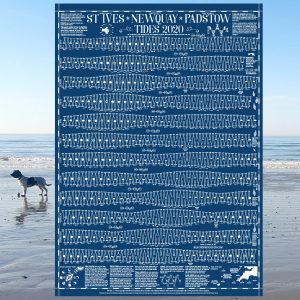 Newquay St ives pastow rock tide wall chart