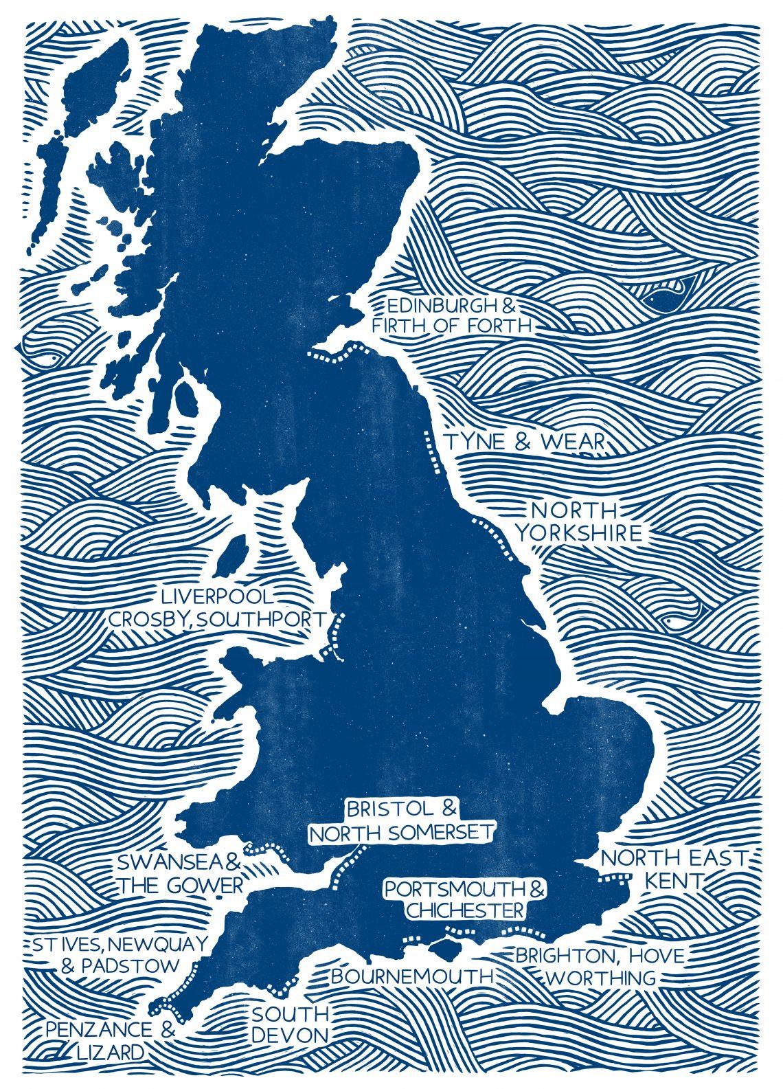 U.K. tide wall chart locations