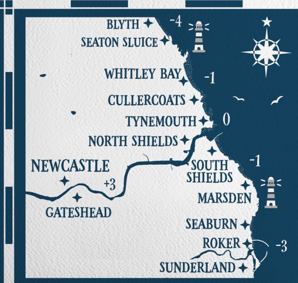 Tide Times Map Tyne and Wear