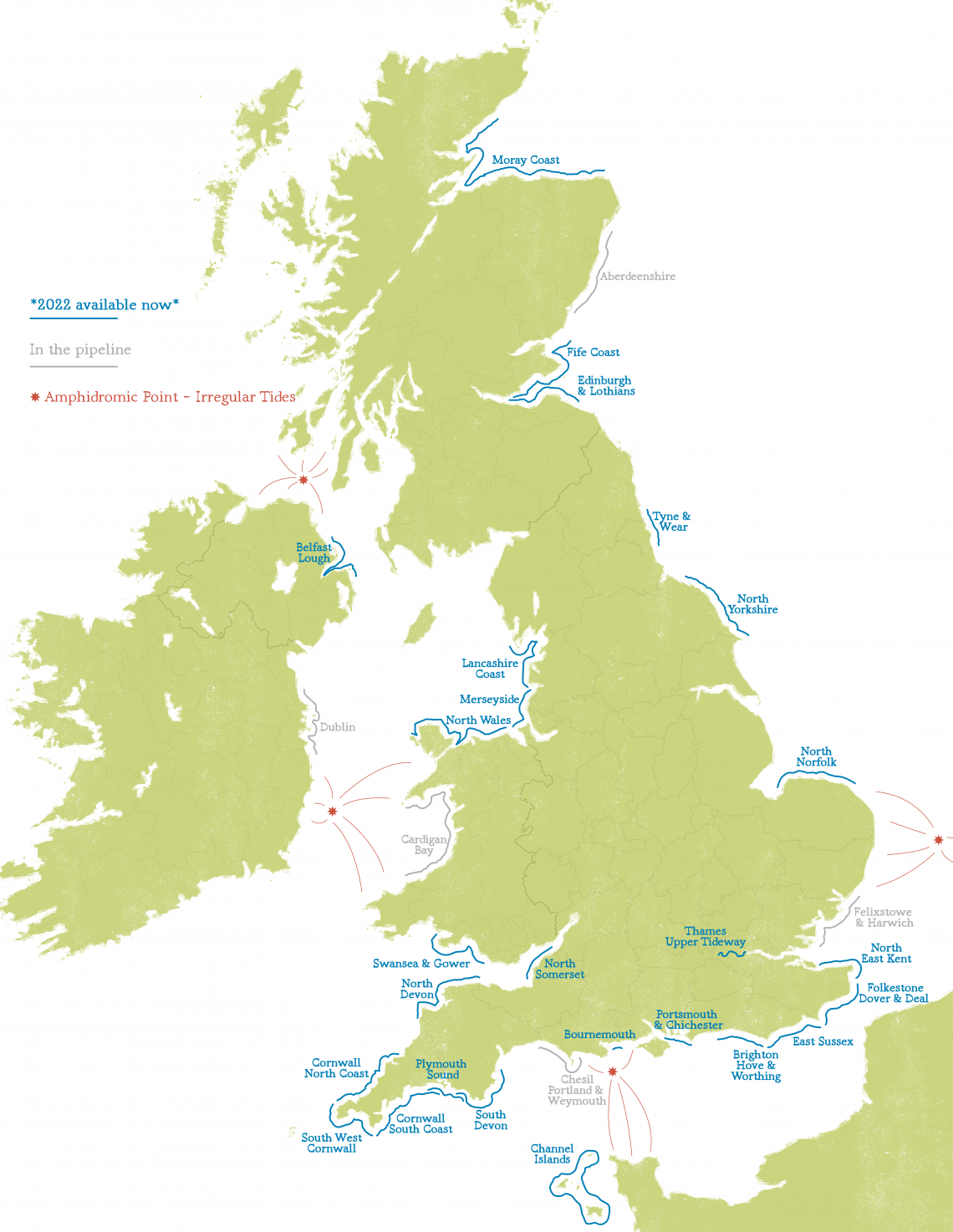 Map of tide chart locations